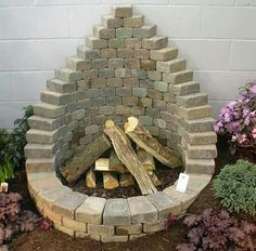 Garden brick fireplace