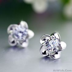 Wow~ Awesome Flower Plum Blossom Sterling Silver Diamond Elegant Earrings! It only $21.99 at www.AtWish.com! I like it so much<3<3!