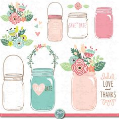 Hand Draw Mason jar Clipart WEDDING MASON JAR clip by YenzArtHaut, $5.00