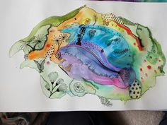 Ink and watercolours