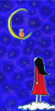 Luna de cielo estrellado gato y niña Print por AliceinParis