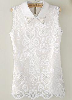 Blusa encaje solapa perlas sin manga-Sheinside