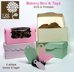 "Here is a box to package up homemade sweets and treats! Perfect for cookies, donuts and macaroons! You can also use these boxes for gift giving. You get SVG designs for Die-Cutting with most electronic die-cutters or you can print the templates directly on your favorite cardstock and cut with scissors! You also get 4 unique tag SVGs or a 8.5""x11"" printable sheet of the tags in a  variety of sizes. What more could you want!"