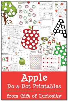 Apple Do-a-Dot Printables: 19 pages of apple do-a-dot worksheets to help kids work on one-to-one correspondence, shapes, colors, patterning, letters, and numbers. || Gift of Curiosity