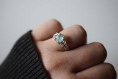 Apatite Ring Raw Herkimer Diamond Handmade Engagement Ring