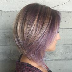 Ash Brown Bob With Purple Balayage