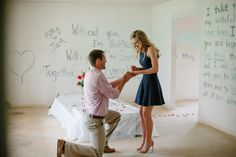 He painted every wall of their new house with a love quote and then proposed. It's worth reading, girls.