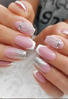 Spring is a perfect season for outdoor weddings,and every bride started preparing everything from wedding dresses to wedding shoes. your wedding nails are also very important.We have prepared the 36 latest wedding nail designs for your reference in 2020 . Fancy Nails, Pink Nails, Cute Nails, Cute Acrylic Nail Designs, Cute Acrylic Nails, Elegant Nails, Stylish Nails, Square Nail Designs, Wedding Nails Design