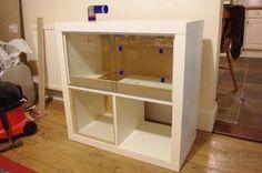 Ikea hack hamster cage - Imgur Hamsters, Hamster Bin Cage, Gerbil Cages, Hamster Habitat, Hamster Care, Hamster Stuff, Rodents, Kallax, Hedgehogs