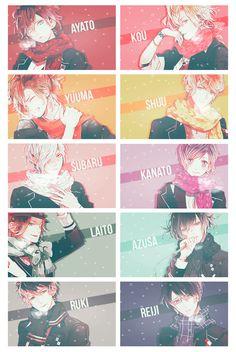Diabolik Lovers, Ayato, Kanato, Laito, Reiji, Shu, Subaru, Ruki, Azusa, Yuma, Kou