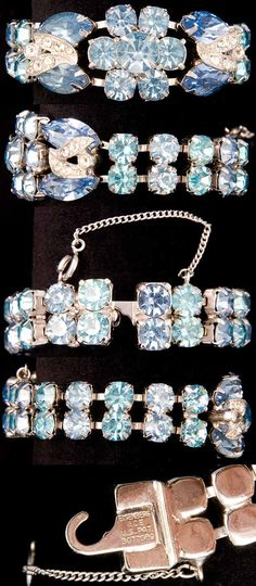 Eisenberg Ice Aqua and Sapphire Rhinestone Bracelet ~ I have my mother's complete set of Eisenberg white Rhinestone set my father bought her during WWII and it's still as gorgeous as the day he gave them to her!