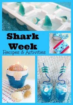 Shark Week Shark Ice Cubes Kid's Idea Shark Week Discovery - freeze gummy sharks in ice cube trays & LOTS of other awesome kid-friendly shark ideas and recipes. Pinning it for later! Beach Drink Recipes, Beach Drinks, Fun Drinks, Cocktail Recipes, Blue Lemonade Recipe, Shark Activities, Children Activities, Summer Activities, Shark Recipes