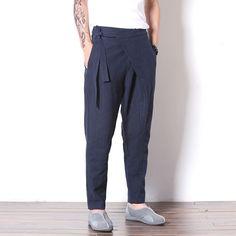 Men's Wrap Front Drop Crotch Harem Pants #loosepants #linen #overalls #OnePiece #linendress #pants