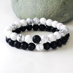 Couples Bracelet couple bracelet howlite bracelet onyx by EthnictS