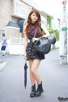 Haruka: Glad News Mouse Skulls Dress, Red Streaked Hair & Spiked Mouse Bag (& Gal Star Boots) from http://tokyofashion.com/glad-news-mouse-dress-spiked-bag/
