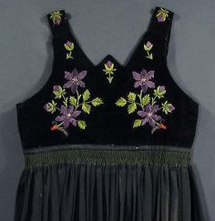 ANTIQUE Polish Folk Costume ethnic embroidered dress Poland Czech regional kroj
