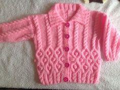 Diy Crafts - Coat n hat -k Baby Cardigan Knitting Pattern Free, Baby Sweater Patterns, Crochet Baby Cardigan, Baby Boy Knitting, Knit Baby Dress, Baby Knitting Patterns, Baby Patterns, Knitting Dolls Clothes, Baby Girl Sweaters