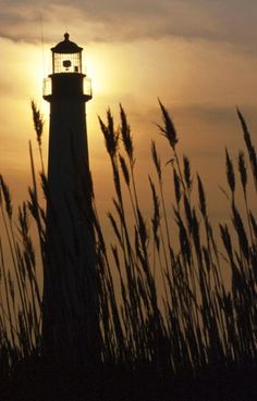 Silhouette of Cape May Lighthouse in Cape May, New Jersey.