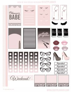 Cozy planner free printable stickers bronze and black classic happy planner erin condren recollections pink blue pretty watercolor pink sweet fashion makeup