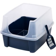 Iris Litter Box with Shield and Scoop, Navy, Blue