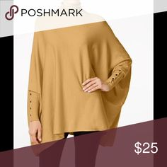 Alfani turtleneck poncho sweater with sleeves NWT Brand new never used with tags. Well known excellent quality Alfani sweater with sleeves. Loose poncho style. Sleeves are accented with a row of gold buttons. Beautiful modern camel color. Alfani Sweaters Cowl & Turtlenecks