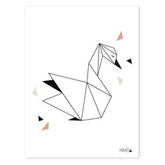 Poster Origami Zwaan 30x40cm Geometric Drawing, Geometric Shapes, Chat Origami, Origami Owl, Design Origami, Polygon Art, Tape Art, String Art, Figure Drawing