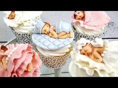 How to make a Gumpaste Baby Topper with Baby Mold. كيفية عمل الأطفال ا. Fondant Baby, Fondant Cupcakes, Cute Cupcakes, Cake Decorating With Fondant, Cake Decorating Tutorials, Biscuit, Baby Shower Baskets, Baby Mold, Baby Teddy Bear