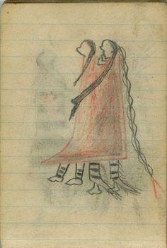 Plains Indian Ledger Art: Wild Hog Ledger-Schøyen - COURTING: Man Holds Woman in Red Blanket