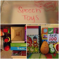I finally organized all of our speech therapy toys! I used a clear plastic container so the little man can see everything. There are several puzzles (farm animals, jungle animals, food, and alphabet), books (mostly Sandra Boynton... Gotta love it), felt sandwich set, brain quest cards, matching game, shape sorter, mr. potato head, nesting blocks, pretend play (baby doll, glasses, necklace, phone, cup), dry erase/ chalk board, markers and chalk. I wrote a note to myself on the lid in dry…