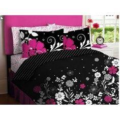 Queen Sz Pink Black Hearts Leopard Polka Dot Zebra Flowers