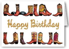 Stonehouse Collection: Cowboy Boots Rope Happy Birthday