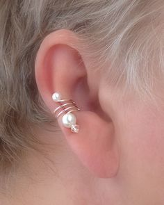 Ear Cuff Pair/Pearl and Crystal Signature Series by TheLazyLeopard