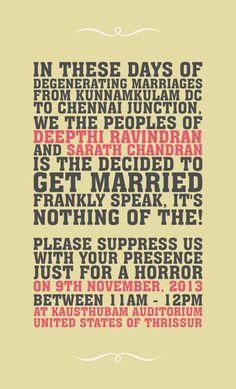 Wedding Card : Malayalee Way by Hiran Venugopalan, via Behance