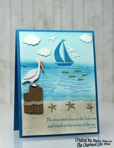 ~Waves of the Sea~ by - Cards and Paper Crafts at Splitcoaststampers Masculine Birthday Cards, Masculine Cards, Nautical Cards, Beach Cards, Sea Theme, Marianne Design, Pretty Cards, Scrapbooking, Homemade Cards