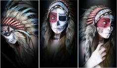 Indian Headdress In Stock. Check out how our amazing customer added a stunning make-up to make her Halloween costume complete. Love it!