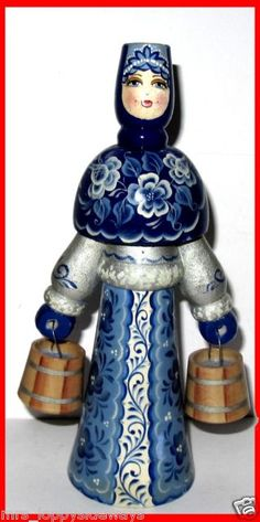 Russian Vintage Wooden Milk Maid Delft Blue Doll Figurine 2 Buckets Signed GC | eBay