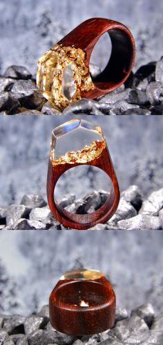 Beautiful wood and resin ring made of padouk and clear jewelry resin with golden flakes.