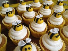Bee cupcakes Bird's and the Bees theme??