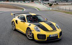 Download wallpapers Porsche 911 GT2 RS, 4k, sportcars, 2017 cars, yellow 911, Porsche
