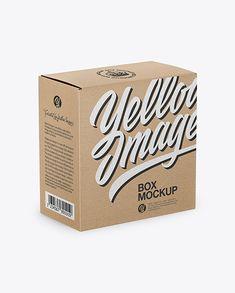 Kraft Paper Box Mockup – Half Side View (High-Angle Shot)