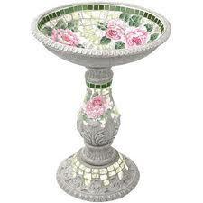rosey mosaic birdbath