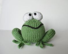 Froggy toy knitting patterns by fluffandfuzz on Etsy