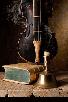 Still Life with Capstan Candlestick and Baroque Violin By kevsyd Kevin Best