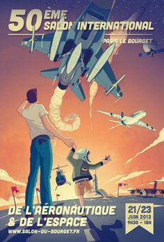 Affiche pour le 50e Salon International du Bourget par Faunesque - Agence Marie Bastille - Agent d'illustrateurs