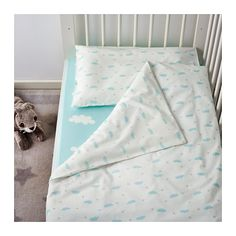 HIMMELSK 4-piece bed linen set for crib, turquoise 43 1/4x49 1/4/13 3/4x21 5/8