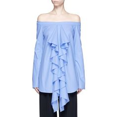 Ellery 'Debauch' waterfall ruffle shirting off-shoulder top (11.695 ARS) ❤ liked on Polyvore featuring tops, blouses, blue, blue ruffle shirt, off shoulder blouse, off shoulder ruffle blouse, ruffle shirt and off shoulder shirt