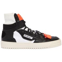 Off White Men Low 3.0 Leather High Top Sneakers ($600) ❤ liked on Polyvore featuring men's fashion, men's shoes, men's sneakers, black, mens black high tops, mens black sneakers, mens black leather shoes, mens leather sneakers and men's low top shoes