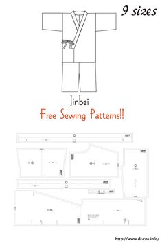This is the pattern of a Jinbei. Japanese Sewing Patterns, Sewing Patterns For Kids, Dress Sewing Patterns, Clothing Patterns, Apron Patterns, Floral Patterns, Textile Patterns, Sewing Aprons, Sewing Clothes