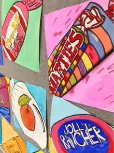 "Art at Becker Middle School: Pop Art! Candy Paintings....studying real candy prices as our inspiration for our Pop Art Candy Paintings. Tempra paint and black Sharpie outlines added emphasis and strong lines. The 12"" x12"" paper created a cropped effect"