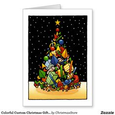 Colorful Custom Christmas Gift Tree Art Greeting Card by Paul Stickland for #ChristmasStore